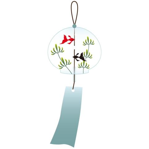 風鈴にかわいい金魚が描かれているイラスト 無料イラストのimt 商用ok 加工ok
