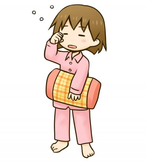 眠そうなパジャマ姿の女の子のイラスト 無料イラストのimt 商用ok加工ok