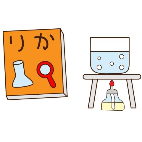 理科の教科書と実験のイラスト 無料イラストのimt 商用ok加工ok