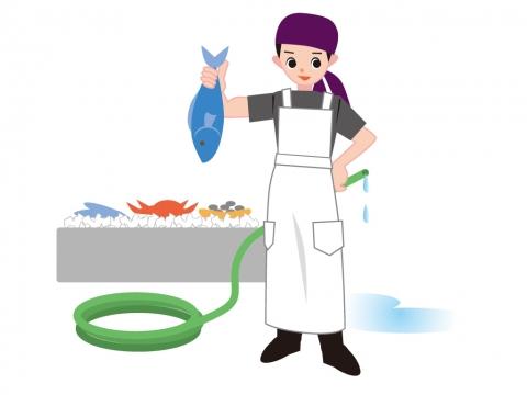 魚屋の販売員のイラスト 無料イラストのimt 商用ok加工ok