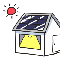 太陽光パネルが設置された家のイラスト