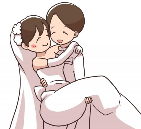 お姫様抱っこされる新婦のイラスト