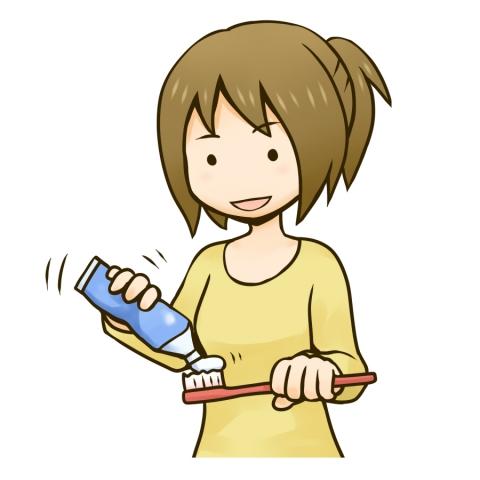 歯磨き粉を出す女性のイラスト 無料イラストのimt 商用ok加工ok
