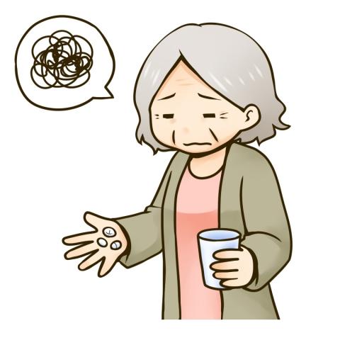 薬を飲むのが苦手なおばあさんのイラスト 無料イラストのimt 商用ok