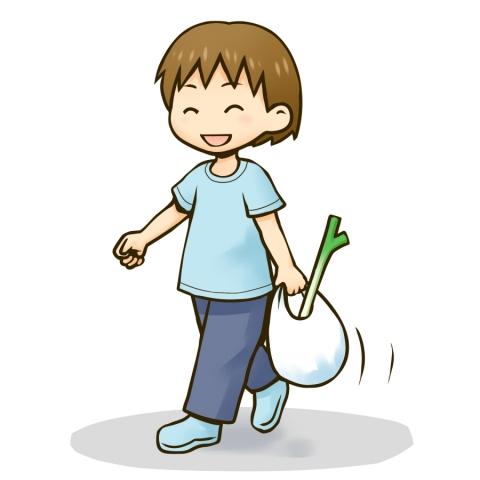 買い物袋を持つ男の子のイラスト