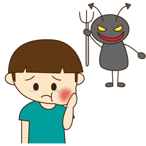 虫歯の子どもと虫歯菌のイラスト 無料イラストのimt 商用ok加工ok