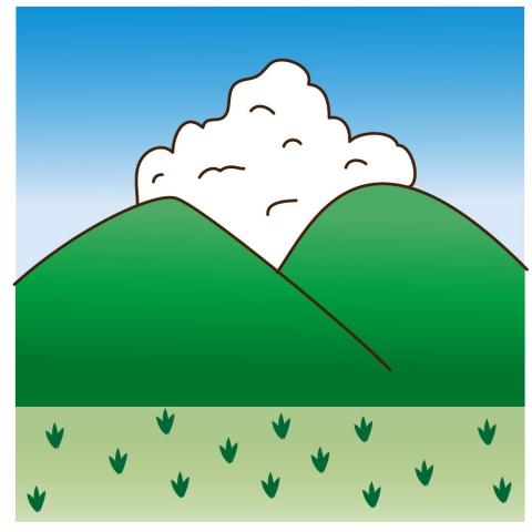 入道雲と山のイラスト 無料イラストのimt 商用ok加工ok