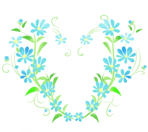 ハートの青い花のイラスト 無料イラストのimt 商用ok加工ok