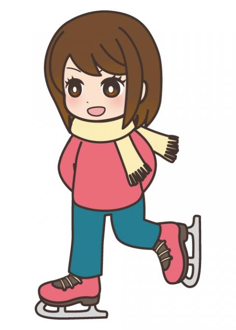 スケートをしている女の子のイラスト 無料イラストのimt 商用ok加工ok