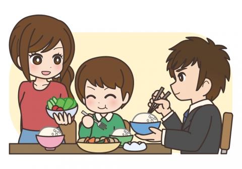 食事中の家族のイラスト 無料イラストのimt 商用ok加工ok
