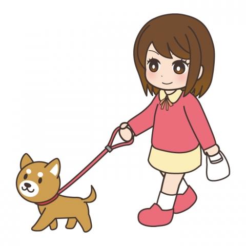 犬の散歩をする女の子のイラスト