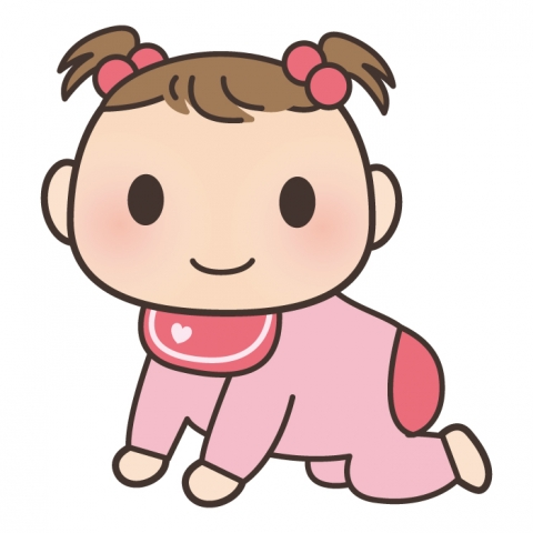 はいはいをしている女の子の赤ちゃんのイラスト 無料イラストのimt