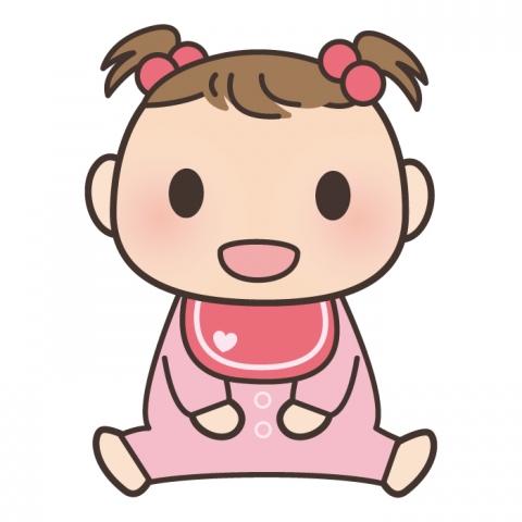 座っている女の子の赤ちゃんのイラスト 無料イラストのimt 商用ok加工ok