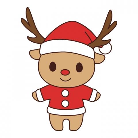 サンタ服を着たトナカイのイラスト , 無料イラストのIMT 商用OK