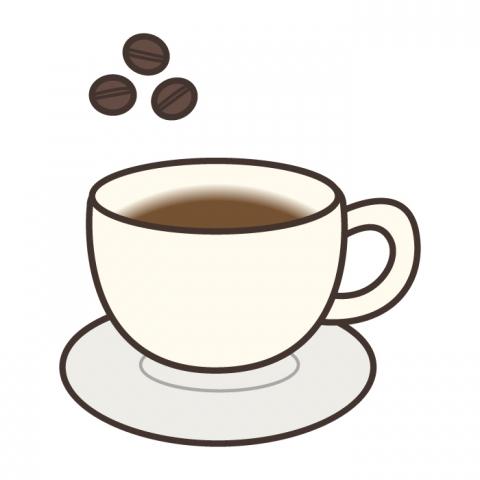 コーヒー豆とカップに入ったコーヒーのイラスト 無料イラストのimt
