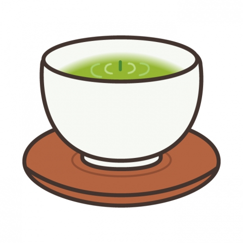 茶柱が立っているお茶のイラスト