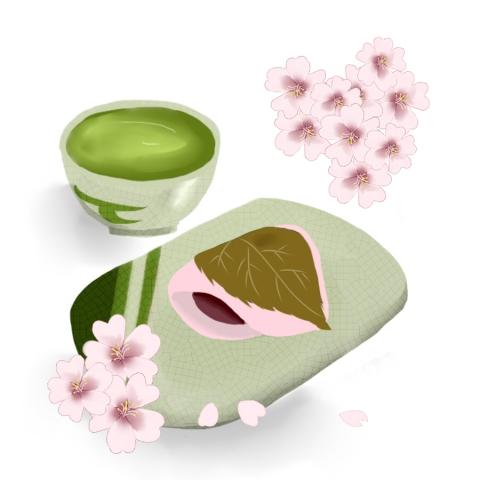 桜餅と抹茶のイラスト 無料イラストのimt 商用ok加工ok