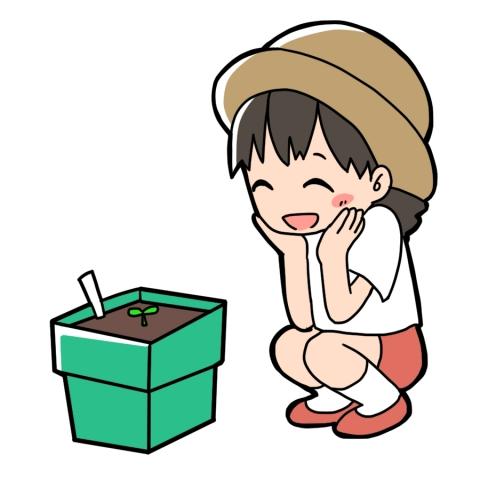植物の観察をする子供がしゃがんでいるイラスト 無料イラストのimt 商用ok 加工ok