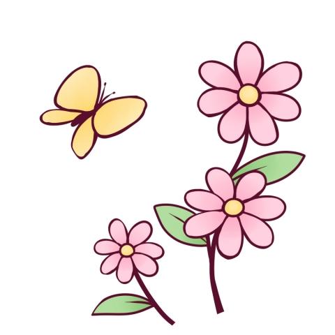 花と蝶のイラスト 無料イラストのimt 商用ok加工ok