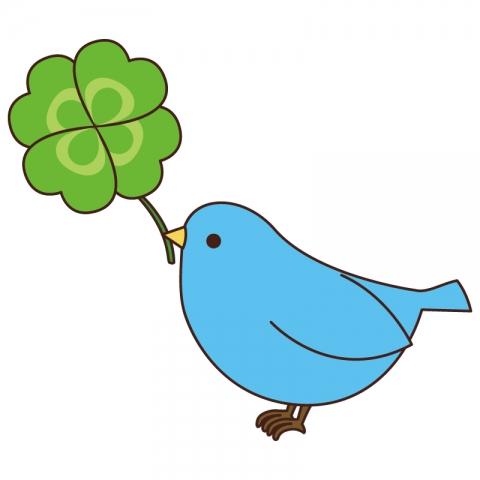四葉のクローバーを持った青い鳥のイラスト 無料イラストのimt 商用ok