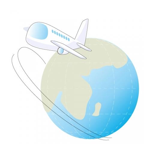 飛行機と地球のイラスト 無料イラストのimt 商用ok加工ok