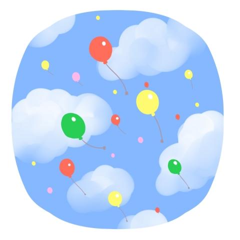 空を飛んでいく風船と空のイラスト 無料イラストのimt 商用ok加工ok