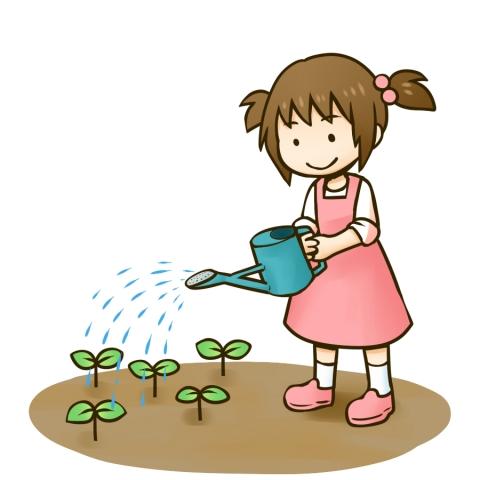 芽に水をあげる女の子のイラスト 無料イラストのimt 商用ok加工ok