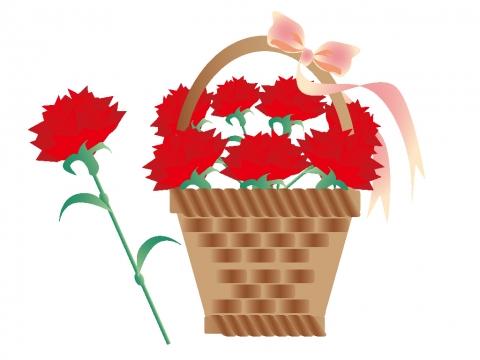 カーネーションの花かごのイラスト 無料イラストのimt 商用ok加工ok