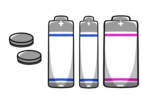 乾電池とボタン電池のイラスト ...