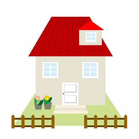 赤い屋根とお庭がある家のイラスト 無料イラストのimt 商用ok加工ok