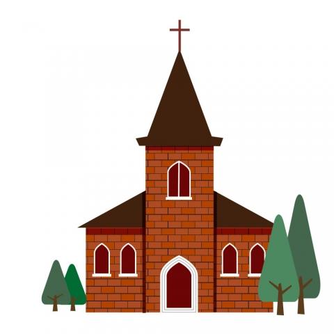 レンガの教会のイラスト 無料イラストのimt 商用ok加工ok