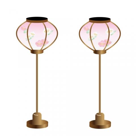 2本のリアルな薄ピンクのひな祭り用ぼんぼりイラスト 無料