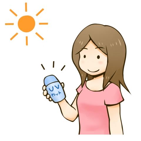 日焼け止めで紫外線対策する女性のイラスト 無料イラストのimt 商用ok