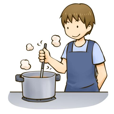 鍋で料理をする男性のイラスト 無料イラストのimt 商用ok加工ok