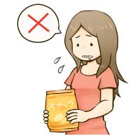 ダイエットしたいがスナック菓子が食べたい女性のイラスト