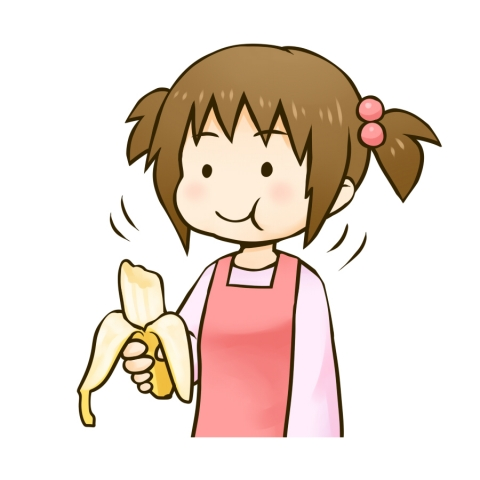 バナナを食べる女の子のイラスト - 無料イラストのIMT 商用OK ...