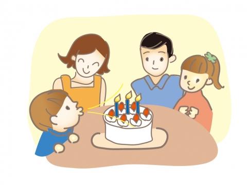 誕生日のお祝いを家族で楽しむイラスト 無料イラストのimt 商用ok加工ok