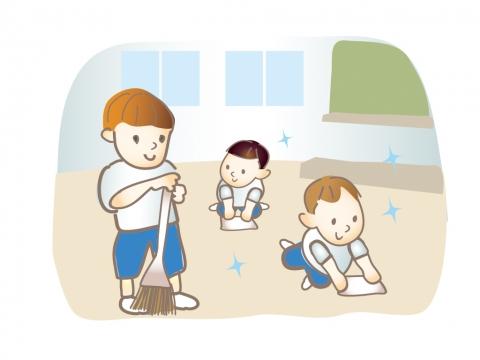 教室の掃除をしている子どもたちのイラスト 無料イラストのimt 商用ok