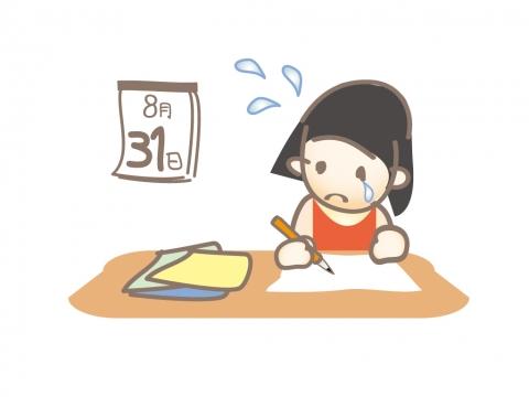 夏休みの宿題が終わらずに泣いている子どものイラスト 無料イラストの