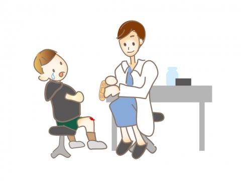 怪我をして保健室で手当てをしている子どものイラスト 無料イラストの