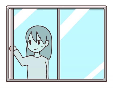 窓を閉める女性のイラスト - 無料イラストのIMT 商用OK、加工OK
