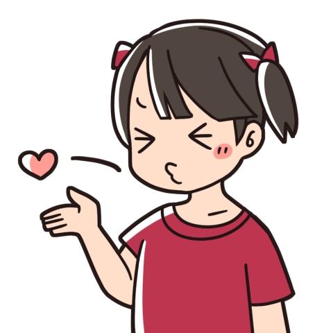 投げキッスをしている女の子のイラスト 無料イラストのimt 商用ok加工ok
