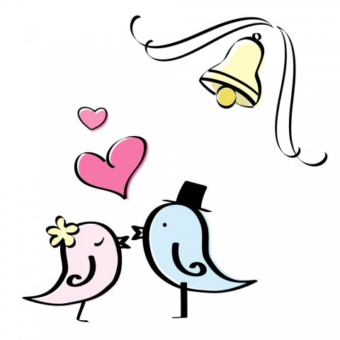 鳥のカップルがラブラブしているイラスト 無料イラストのimt 商用ok