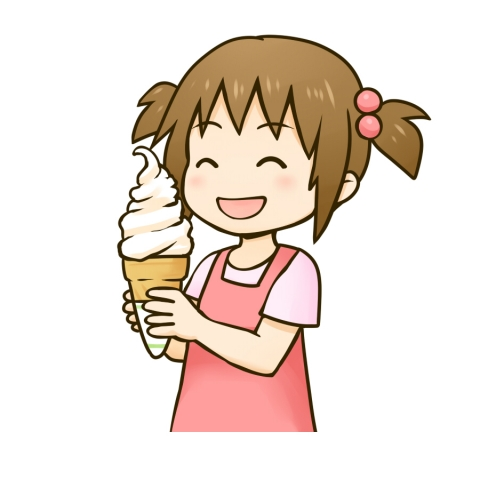 ソフトクリームを食べる女の子のイラスト 無料イラストのimt 商用ok