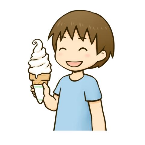 ソフトクリームを食べる男の子のイラスト 無料イラストのimt 商用ok