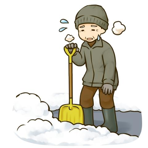 雪かきして疲れたおじいさんのイラスト 無料イラストのimt 商用ok加工ok