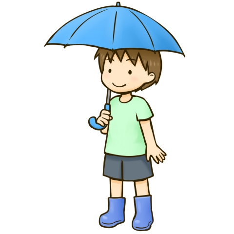 傘をさす男の子のイラスト 無料イラストのimt 商用ok加工ok