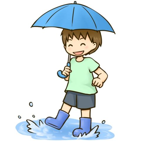 傘をさして水たまりで遊ぶ男の子のイラスト 無料イラストのimt 商用ok