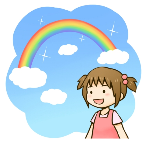 虹が出た空と女の子のイラスト 無料イラストのimt 商用ok加工ok