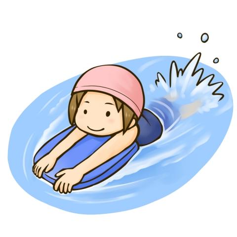 ビート板を使って泳ぐ女の子のイラスト 無料イラストのimt 商用ok加工ok